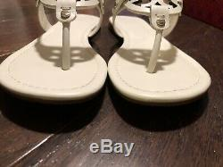 NIB Tory Burch Miller Leather Sandals Flip Flops Bleach Womens Size 8.5