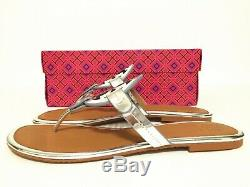 NIB Tory Burch Miller Metallic Leather Flat Sandals Shoes Silver Size 9.5