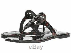 NIB Tory Burch Miller Patent Leather Flip Flops Sandals TORTOISE SHELL 8.5 M