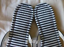 NIB Tory Burch Miller Sandal Patent Leather Navy White Nautical Stripe Size 7.5