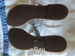 NIB Tory Burch Miller Sandal Patent Leather Navy White Nautical Stripe Size 8