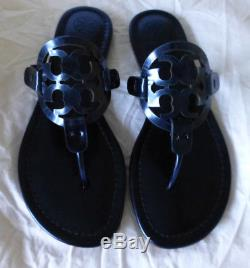 NIB Tory Burch Miller Sandal Petroleo Mirror Metallic Blue Size 5 New In Box