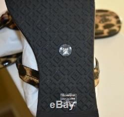 NIB Tory Burch Miller Sandal Printed Patent Leather Natural Leopard Size 9 $198