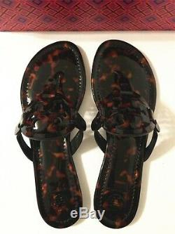 NIB Tory Burch Miller Sandals Flip Flop Patent Leather Shoes Tortoise Shell 7