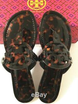 NIB Tory Burch Miller Sandals Flip Flop Patent Leather Shoes Tortoise Shell 8