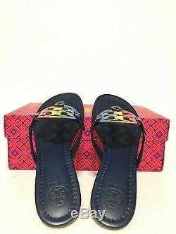 NIB Tory Burch Miller Sandals Printed Patent Leather Shoes RainbowithRoyal Navy 6