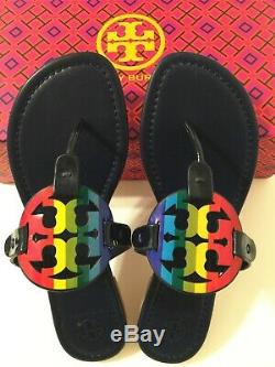 NIB Tory Burch Miller Sandals Printed Patent Leather Shoes RainbowithRoyal Navy 9