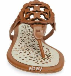 NIB Tory Burch Miller Scallop Scalloped Flat Slide Sandals Shoes TAN CREAM