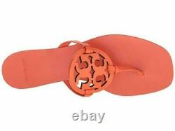 NIB Tory Burch Miller Square Toe Thong Sandals Shoes Sweet Tangerine Orange