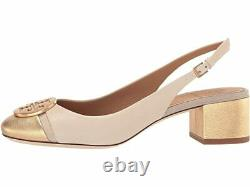 NIB Tory Burch Minnie 55 mm Cap-Toe Slingback Shoes DULCE DE LECHE GOLD 9.5 M
