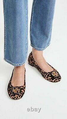 NIB Tory Burch Minnie Ballet Flats Shoes Logo Calf Hair Barbados Leopard 9 M