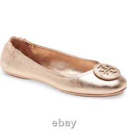 NIB Tory Burch Minnie Metallic Leather Travel Ballet Flats Shoes ROSE GOLD 11 M