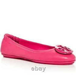 NIB Tory Burch Minnie Travel Ballet Flats Shoes Bright Azalea 8.5 M 9 M 9.5 M