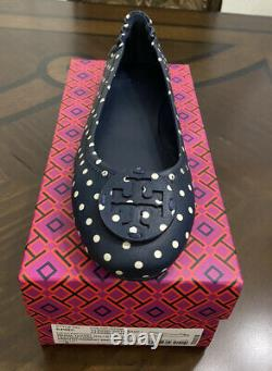 NIB Tory Burch Minnie Travel Ballet Flats Shoes Navy Classic Dot Size # 8