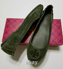 NIB Tory Burch Minnie Travel Ballet Flats Shoes Suede Logo, Leccio Green Size 9