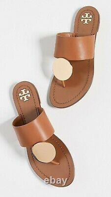 NIB Tory Burch Patos Sandals Flip Flops Shoes Brown Gold