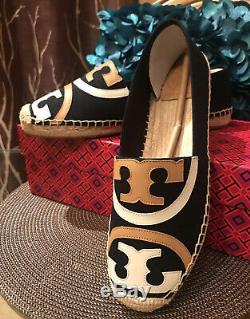 NIB Tory Burch Poppy Blue Navy Canvas and Leather Espadrille Shoes Flat Size 9