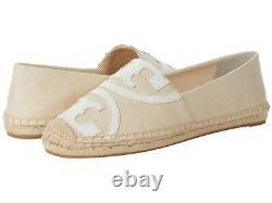NIB Tory Burch Poppy Logo Espadrilles Loafers Shoes CREAM 9 M
