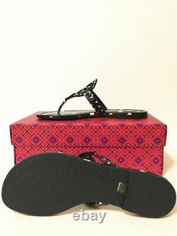 NIB Tory Burch Printed Patent Leather Miller Sandals Shoes Navy Classic Dot 7.5