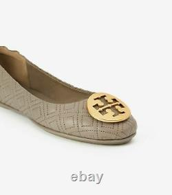 NIB Tory Burch QUILTED MINNIE TRAVEL BALLET flats shoes Dust Storm Gold