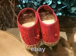 NIB Tory Burch RHEA Lace-Mesh Espadrille Logo Pink Flats Shoes 8.5