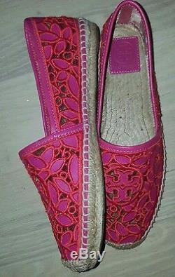 NIB Tory Burch RHEA Lace-Mesh Espadrille Logo Red/Pink Flats Shoes 8.5