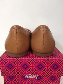 NIB Tory Burch Reva Flats Ballet Tumbled Leather C Width, Tan, Size 8, 8.5, 9