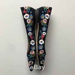 NIB Tory Burch Rosemont Floral Embroidered Pansy Bouquet Ballet Flats Size 10