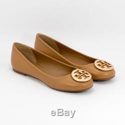 NIB Tory Burch Royal Tan Gold Reva Ballet Flat Shoes size 6.5 7 7.5 8 8.5 10