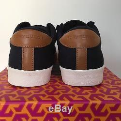 NIB Tory Burch Wally Sneaker Canvas-Veg Leather, Navy/White, Size 8, 8.5, 9, 9.5