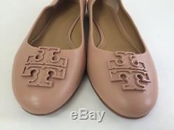 NIB Tory Burch Women's 11M Powder Coated Melinda Leather Flats Shoes Pink Sz 11M