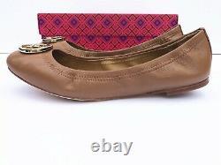 NIB Tory Burch Women's Benton 2 Travel Ballet Nappa Leather Flats Shoes Brown 7
