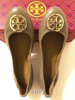 NIB Tory Burch Women's Benton 2 Travel Ballet Nellie Nappa Leather Flats Shoes 8