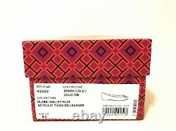 NIB Tory Burch Women's Claire Ballet With Logo Leather Flats Shoes 8.5