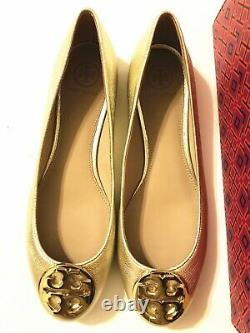 NIB Tory Burch Women's Claire Ballet With Logo Leather Flats Shoes 9