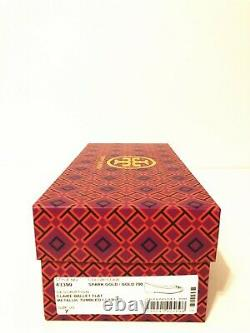 NIB Tory Burch Women's Claire Ballet With Logo Leather Flats Shoes Size 7