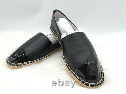 NIB Tory Burch Women's ColorBlock Logo Flat Leather Espadrille Slip On Shoe 8M