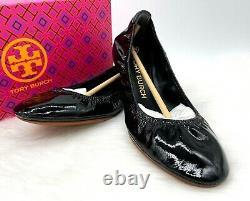 NIB Tory Burch Women's Logo Eddie Patent Leather Flat Ballet Shoe Sz 9M In Black