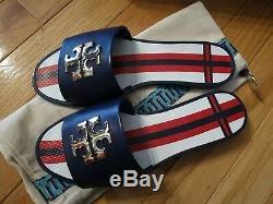 NIB Tory Burch Women's Logo Jelly Slide Flip Flops Sz 6 Navy Sea 37174