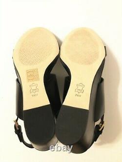 NIB Tory Burch Women's Metal Miller 65MM Wedge Leather Sandal Shoes Black 7.5