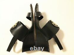 NIB Tory Burch Women's Metal Miller 65MM Wedge Leather Sandal Shoes Black Size 8