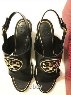 NIB Tory Burch Women's Metal Miller 65MM Wedge Leather Sandal Shoes Black Size 9