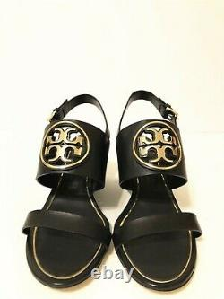 NIB Tory Burch Women's Metal Miller 65MM Wedge Leather Sandal Shoes Black Size 9