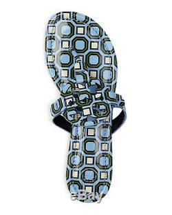 NIB Tory Burch Women's Miller Leather Thong Sandal PRINTED BLUE CHAMBRAY OCTAGON