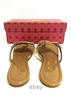 NIB Tory Burch Women's Miller Patent Calf Leather Thong Sandals Shoes Sand 9.5
