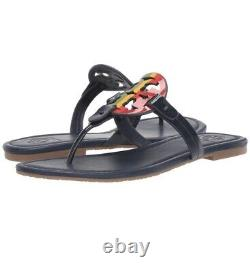 NIB Tory Burch Women's Miller Thong Sandals Shoes Bright Rainbow Leather Size7.5