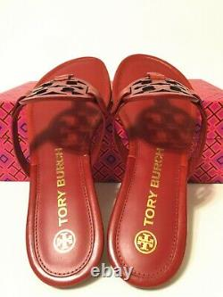NIB Tory Burch Women's Miller Thong Sandals Shoes Leather Poinsettia Red Size 8