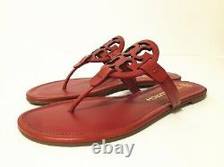 NIB Tory Burch Women's Miller Thong Sandals Shoes Leather Poinsettia Red Size7.5