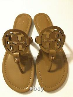 NIB Tory Burch Women's Miller Thong Sandals Shoes Patent Leather Sand Size 10