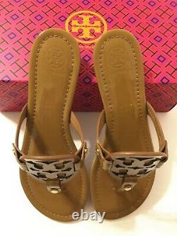 NIB Tory Burch Women's Miller Thong Sandals Shoes Patent Leather Sand Size 8